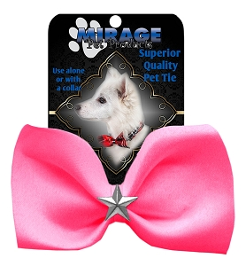 Silver Star Widget Pet Bowtie Hot Pink